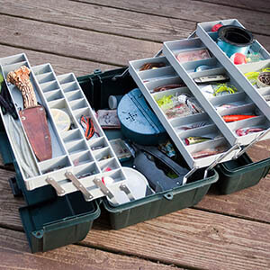 You can use a tackle box to store your small parts like nuts and bolts. Also, it's portable!