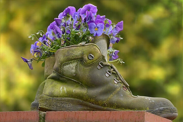 boot flower pot