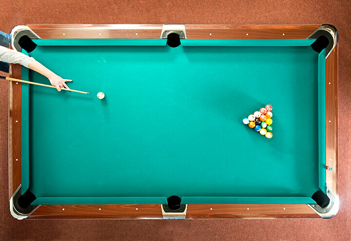 overhead image of a pool table