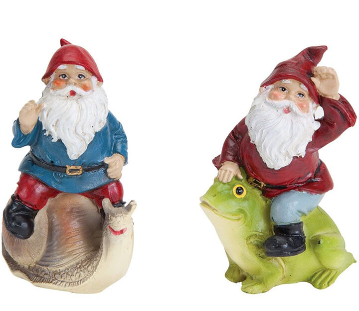Set of 2 Gnomes atop a snail and a frog