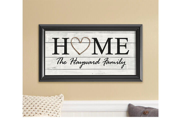 framed picture with the word Home in the center