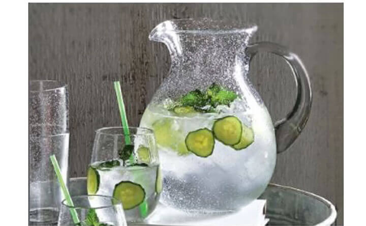 large bubble glass pitcher