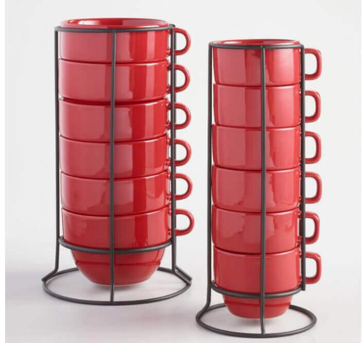 set of red stacking coffee mugs