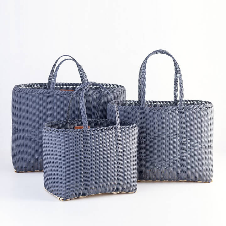 Eco-friendly reusable shopping tote bags, blue in color
