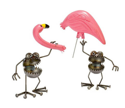 flamingo away garden sculpture
