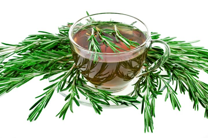 cup of tea with rosemary sprigs