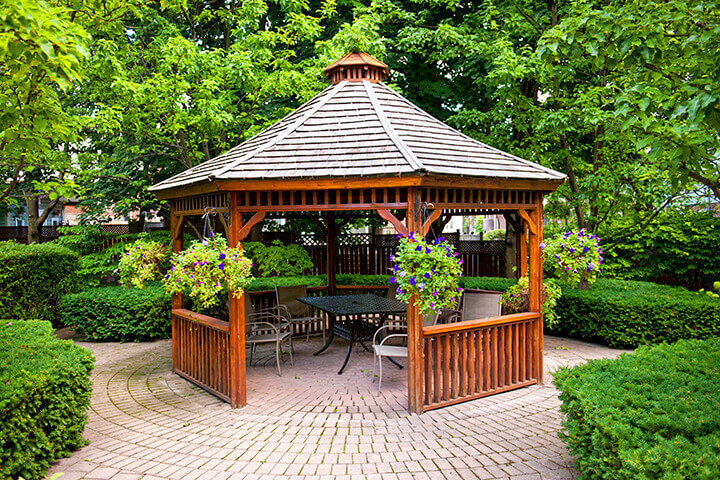 typical wooden gazebo