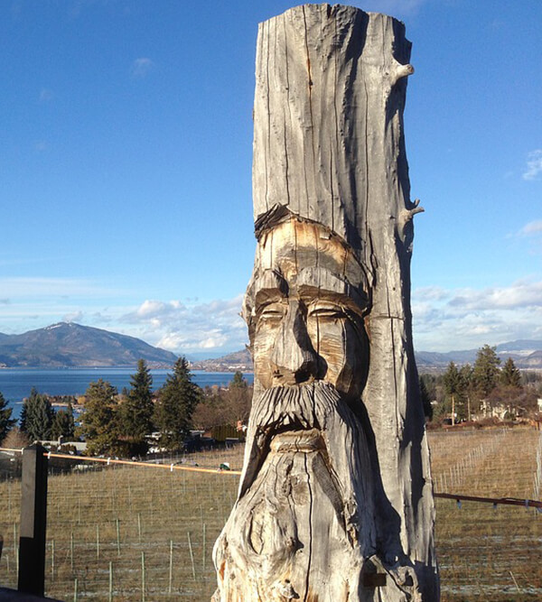 face carved into a stump