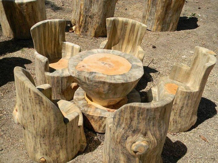 Table and chairs from tree stumps