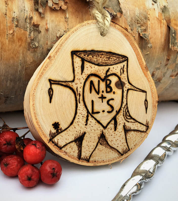 wood burned christmas ornament