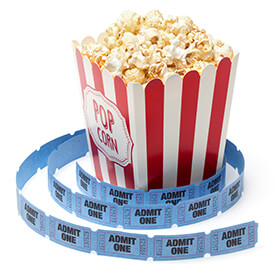 ticket stubs and popcorn