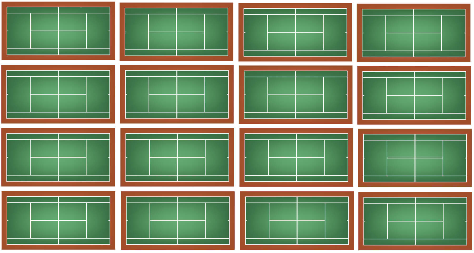 16 Tennis Courts side by side