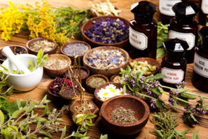 dried aromatheraphy plants in pestles